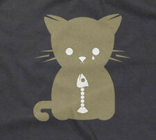 CAT ATE THE FISH T-SHIRT funny cool artistic designer humor sad silly mens guys