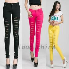 Denim Jeans Leggings Ripped Distressed Jeggings Women's Pencil Pants Trousers