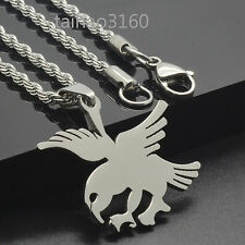 "Stainless Steel Dog Tag Pendant Flying Eagle 3mm Chain 18-30"" Gift Necklace 94M"