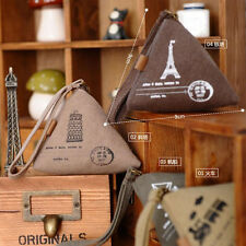 New Lady's Cute Triangle Canvas Burse Change Purse Coin Key Mini Buckle Pouch