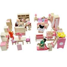 Dolls House Furniture Wooden Set People Dolls Toys For Kids Children Gift New AD