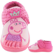 Girls Size 4 - 9 PEPPA PIG Touch Fastening Pink Slippers NEW Infants Crown