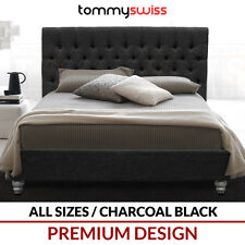 TOMMY SWISS PREMIUM King & Queen Size Fabric Upholstered Black Button Bed Frame