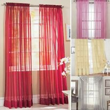 1Pcs Pure Color Sheer Voile Door Window Curtain Drape Panel Scarf Assorted Scarf