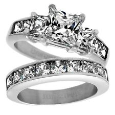 Stainless Steel Stylish 4.65 Carat CZ Engagement Ring 2-Piece Wedding Band Set