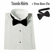Men's Standard Cuff White Tuxedo Dress Shirt Wing Collar with Bow-Tie SG11
