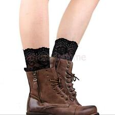 Women Girl Stretch Lace Boot Cuffs Flower Leg Warmers Toppers Soft Socks Legging