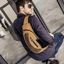 Men Canvas Travel Hiking Motorcycle Bike Messenger Shoulder Bag Sling Chest Bag
