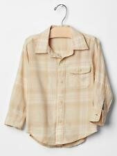 NWT BABY GAP BOYS SHIRT TOP peach plaid button down   Easter   you pick size