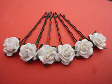 *6 ROSE HAIR GRIPS* 60 + COLOURS AVAILABLE HAIR PINS ACCESSORIES WEDDING KIRBY