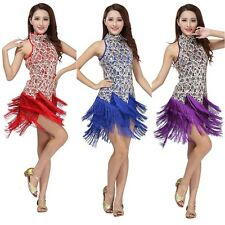 New Women Latin Dance Dress Salsa Samba Tango Cha Cha Tassel Sequins Costume H55