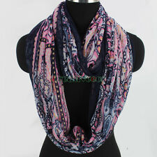 Women Lady Vintage Floral Paisley Print Soft Long/Infinity Loop Casual Scarf New