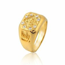 Mens Yellow Gold Filled Crystal Allah Ring Size 9 10 11