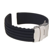 Waterproof Black Silicone Rubber Watch Band Deployment Buckle 18mm ~ 24mm Strap