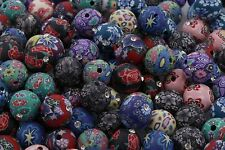 30pcs Mixed Polymer Clay Crystal Flower Round Loose Charm Beads Findings 12mm
