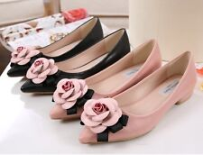 Runway Style Camellia Flower Corsage Shoes Flats  Black or Pink