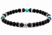 Amulet Tibetan Silver Handmade Beaded Bracelet Black Agate and Turquoise