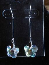 SPARKLING CRYSTAL BUTTERFLY DROP EARRINGS / 2 COLORS
