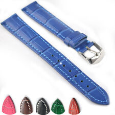 Genuine Leather Watch Band Strap Alligator Grain VIP Stainless Steel Buckle 065