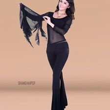 Mesh Belly Dance Suit Long Sleeve Costume Set Outfit Top Slit Pants Trousers New