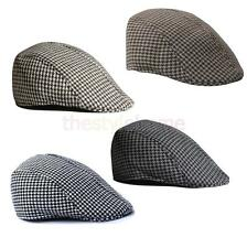 Mens Womens Cool Beret Cap Houndstooth Newsboy Hat Flap Cabbie Cap