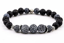 Amulet Tibetan Silver Handmade Men's Beaded Bracelet With Black Agate Crackle
