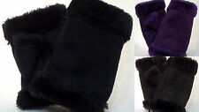 Women's Fingerless Gloves Genuine Faux Fur Trim and Lining Cell Phone Gloves