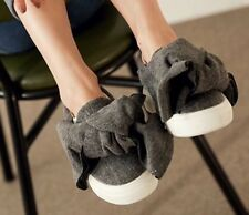 Oversize Bow Jersey Skate Slip-Ons Loafers  Sneakers Black or Grey