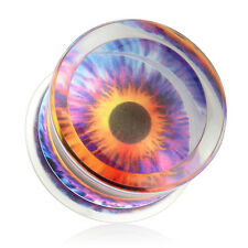 Flesh Tunnel Saddle Plug Double Flared Ear Piercing Blue Eye Acrylic Plastic
