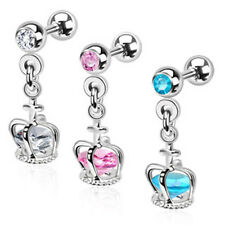 Tragus Helix Cartilage Studs Ear Piercing Crown Pendant CZ crystal Stone
