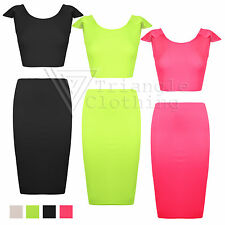 New Ladies Neon 2 Piece Crop Top Midi Skirt Set Frill Pencil Backless Sleeveless