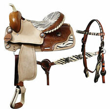 """Western Saddle-Roughout Leather-Zebra Print-Headstall-Breastcollar-(14"""",15""""16"""")"""