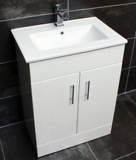 Turin 600mm Square Vanity Unit + Ceramic Basin Sink Bathroom Storage White Gloss
