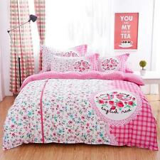 Single Double Queen King Bed Set Pillowcase Quilt Duvet Cover Lovely Pink L