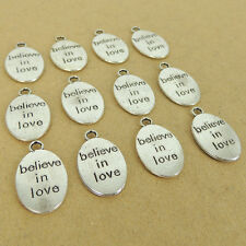 Tibetan Silver Believe In Love Pendant Charm Energy LEAD NICKLE FREE TSP035