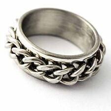 Womens Mens Stainless Steel Silver Band Chain Spinner Ring Size 7 8 9 10 11