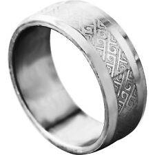 Tibet style Men's White Gold Filled Band Promise Love Band Ring Size 8-11