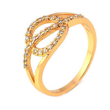 Fashion 24K Yellow Gold Plated Round Cubic Zirconia Promise Love Band Ring