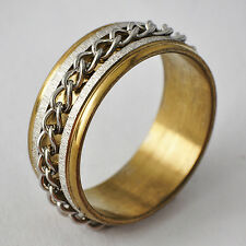 Classic Yellow Gold Filled/Stainless Steel link Promise Love Band Ring Size 8-11
