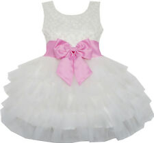 Flower Girl Dress Pink Bow Tie Wedding Lace Tulle Overlay Layered Size 3-6 Party