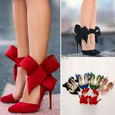 Lady Sexy Women's Pointy Toe High Heel Pumps Stilettos Bow Party Shoes Plus Size