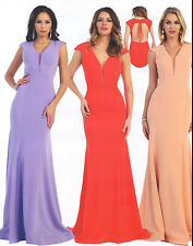 SEXY LOW BACK BRIDESMAIDS COCKTAIL DRESS  EVENING FORMAL GOWN CHIFFON  4-12 NEW
