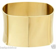 QVC Square Design Bold Wide Bangle Bracelet Gold Clad Stainless Steel J293586