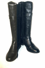 STEVE MADDEN BLACK LEATHER BOOTS ANKLE BELTS MOTORCYCLE TALL 1 INCH HEELS 8 M