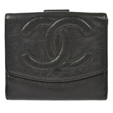 Authentic CHANEL CC Logos Bifold Wallet Purse Caviar Skin Leather Black BA01434