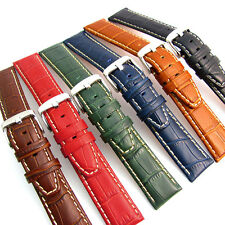 Super Padded Croc Grain Watch Strap Contrast Stitched 6 Colours Free Pins