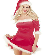 Ladies Womens Mrs Clause Sexy Santa Dress Red Velvet Fur Trim Hat Xmas Christmas