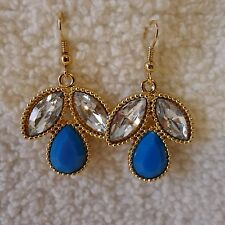 Faceted Clear Rhinestones Blue, White Pink Teardrop Gold Dangle Pierced Earrings