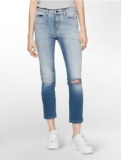 calvin klein womens ultimate skinny high rise crop lille wash jeans