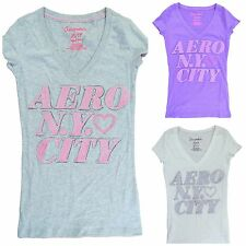 Aeropostale Women's Juniors Short Sleeve V Neck NY City Graphic Tee New with Tag